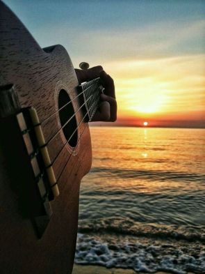 Guitar at sunset